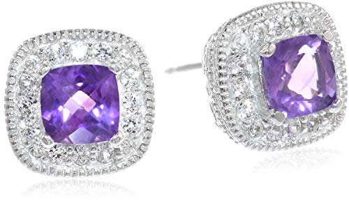 Sterling Silver Genuine African Amethyst and Created White Sapphire Halo Cushion Stud Earrings
