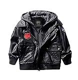 LAUSONS Veste en Cuir Garçon - Blouson Moto Cuir Enfant Capuche Noir Taille 116
