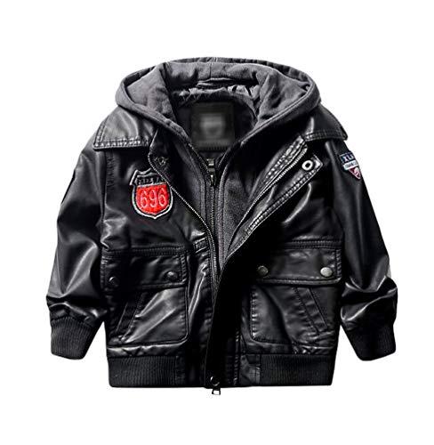 LAUSONS Bikerjacke für Kinder Motorrad Lederjacke mit Kapuze Schwarz Größe 128