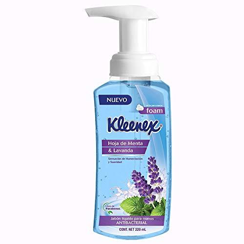 Kleenex Jabón Líquido para Manos en Espuma, 220 ml con Hoja de Menta y Lavanda