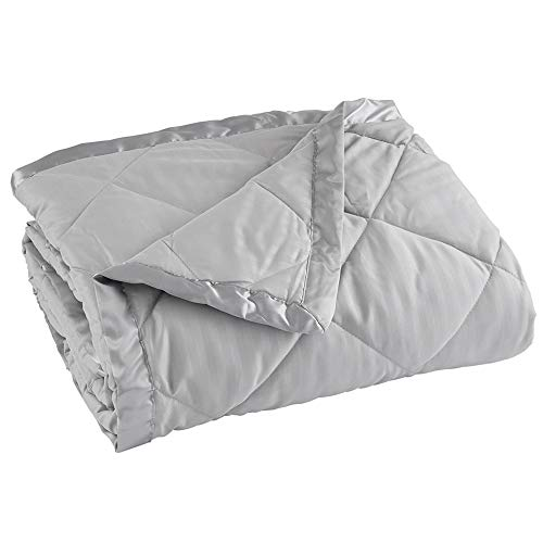 Home Fashion Designs Lightweight Queen Goose Down Alternative Quilted Blanket with Satin Trim. Romana Collection High Rise Grey