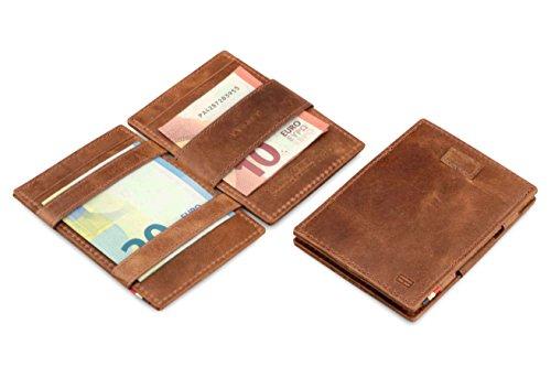 Portafoglio Garzini Magic in vera pelle sottile e minimalista da uomo con sistema di blocco RFID, custodia per le carte e linguetta di estrazione