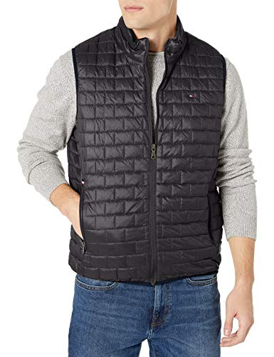 Tommy Hilfiger Men's Box Quilted Lightweight Ultra Loft Vest, black, Medium