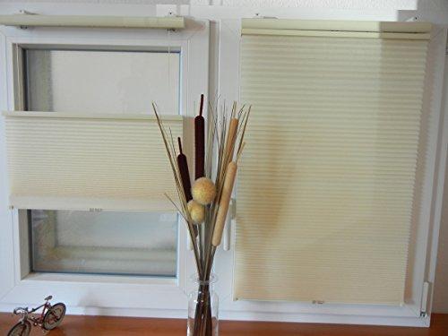 IXX-Design Klemmfix Wabenplissee, Plisseerollo, freihängend verschiebbar 60 cm x 130 cm, Farbe Creme. Die Neue Plissee Generation