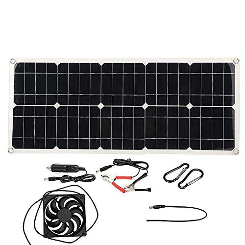 Panel Solar de 100W, Kit de Cargador USB Dual de 5 V / 18 V CC, con Cables de Controlador Solar