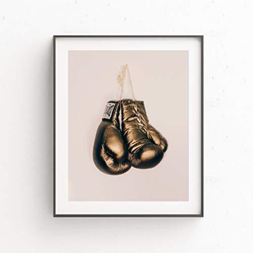 Danjiao Boxhandschuhe Golden Wall Art Poster Drucke Sport Boxing Leinwand Malerei Poster Wall Decor Old School Ermutigendes Geschenk Wohnzimmer 40x60cm