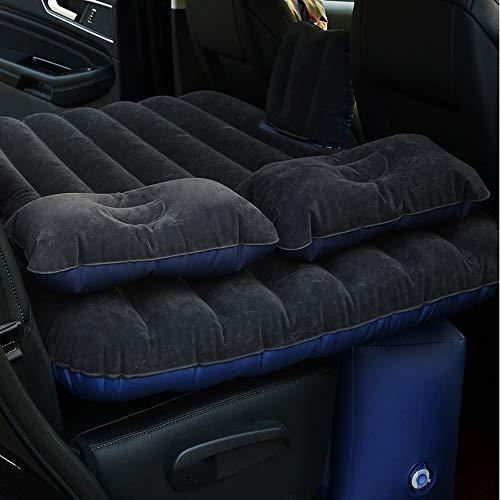 Sinbide - Materasso gonfiabile per auto, pieghevole, multifunzione, 3 colori + 2 cuscini + pompa, Nero
