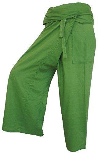 Pantalones de pescador Fisherpant verde bosque Pantalones de yoga Wrap Sport Tailandia Tailandia Tailandia tailandés largo