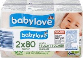 babylove Feuchttücher sensitive 2x80St, 160 St, ÖKO-TEST SEHR GUT
