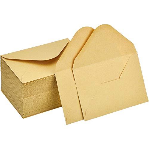 120 Piezas de Mini Sobres de Kraft Sobres de Tarjeta de Regalo sobre de Tarjeta de Boda FieDEZHI Oficina Sobres de Aleta Clásica de Piezas Pequeñas, 4,4 x 3 Pulgadas