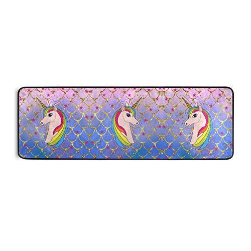 Linomo Alfombra para pasillo, diseño de unicornio con escamas de sirena, alfombra para salón, decoración del hogar, alfombras para niños y niñas y dormitorios de 72 x 24 pulgadas