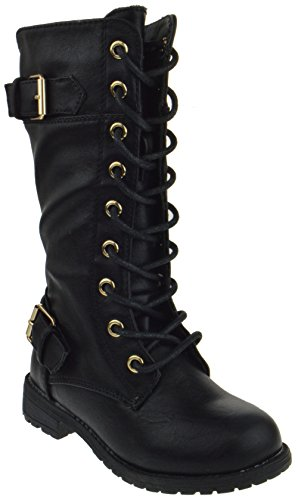 Forever Mango 27K Little Kids Combat Lace Up Boots,Black,2 - http://coolthings.us