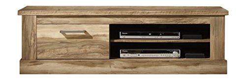 trendteam Wohnzimmer Lowboard Fernsehschrank Fernsehtisch Montreal, 146 x 45 x 52 cm in Nussbaum Satin Dekor mit zwei offenen Fächer