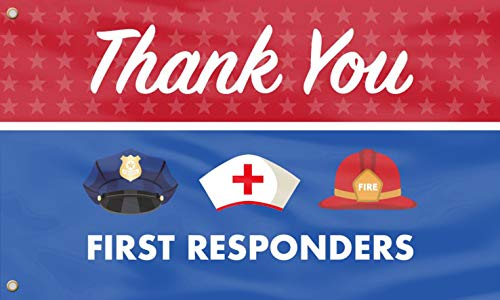 Thank You First Responders Flag - Outdoor Lawn Decorations, First Responders,Heroes - UV Resistance Fading&Durable With Brass Grommets For Yard Banner Lawn Outdoor Decor 3x5 Ft