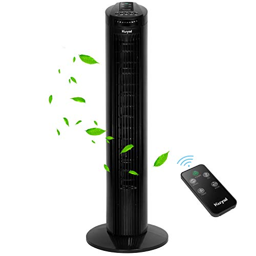 Kuyal Tower Fan, 29-Inch Quiet Portable Oscillating Fan, 3 Speed Control, Compact and Space Saving, Oscillating Tower Fan with Remote Control & Timer Function for Home and Office Use, 45W (Black)