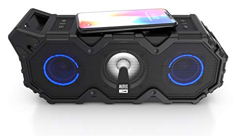 Altec Lansing Super LifeJacket Jolt with Lights, Built in Qi Wireless Charger, Waterproof, Snowproof, Shockproof and it Floats in Water, Up to 30 Hour Battery Life, Black (IMW889L-BLK)