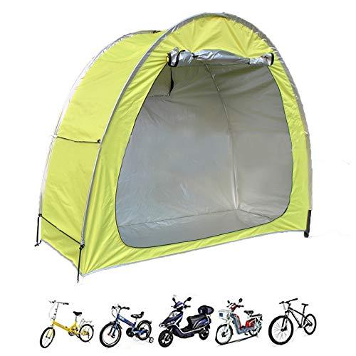 Cubierta de Bicicleta Tienda de Almacenamiento,Herramienta de Servicio Pesado Cobertizo de Almacenamiento con Impermeable/A Prueba De Polvo/Durable/PortáTil/Plegable para Exterior,Amarillo