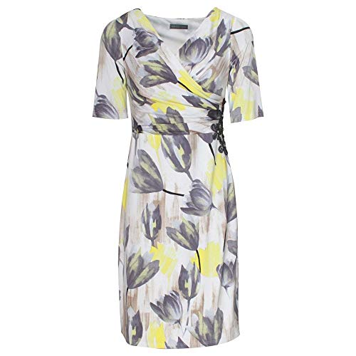 Michaela Louisa Short Sleeve Grey & Yellow Printed Dress 12 Grey Multi
