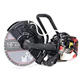 XtremepowerUS 16' Handheld Power Cutter Circular Saw Wet/Dry 52CC Gas-Powered Water Line Concrete Saw Cutter Guide Roller (No Blade)