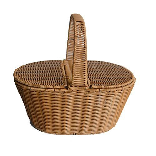 Cnwang Handgemachter Rattankorb Mit Griff, Camping-picknickkorb Mit Doppeldeckel, Einkaufskorb,B,Large