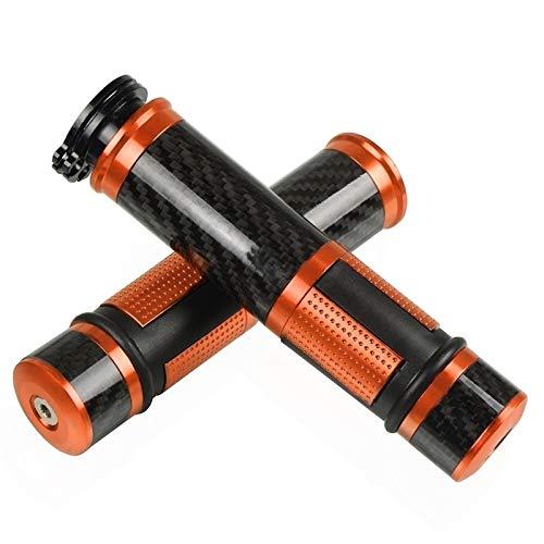 Empuñadura Moto 7/8'22 mm fibracarbono Barra Fibra Carbono Barras manija de Motocicleta Universal para Y&amaha CBR250R R1 R6 CBR600RR CBR Acoples (Color : Orange)