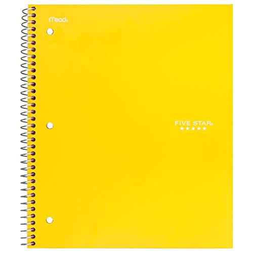 "Five Star Spiral Notebook, 3 Subject, Wide Ruled Paper, 150 Sheets, 10-1/2"" x 8"" Sheet Size, Color Selected For You (05244)"