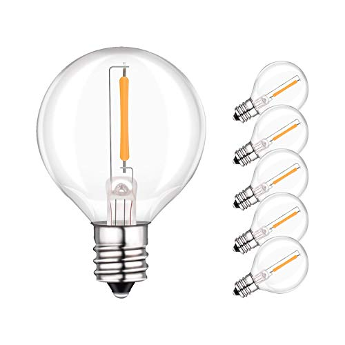 6 Pack G40 LED Replacement Bulbs,1Watt (10 Watt Equivalent) Led Globe Bulb, 2200K Warm White, Fit E12 Screw Base/C7 Sockets for G40 Globe String Lights, Indoor & Outdoor Patio Garden Party Use