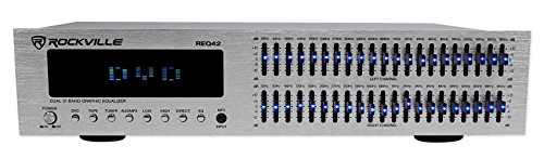 "Rockville REQ42-S Silver 19"" Rack Mount 2x21 Band Equalizer w/Spectrum Analyzer"
