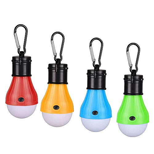 DASIAUTOEM Lanterne de Camping, Lot de 4 Lampes de Camping LED à Piles, Tente Ampoule Lampes de Poche Portable D'urgence pour Extérieur Camping, Randonnée, Pêche, Chasse, Activités D'alpinisme