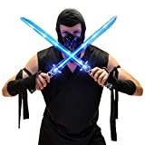 Deluxe Ninja LED Light up Toy Sword with Motion Activated Clanging Sounds (2-Pack)