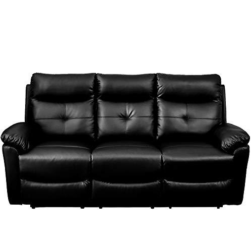 Wealthgirl Luxuriöses Kunstleder-Sofa-Set mit Liegestuhl und Liegestuhl, für Zuhause, Lounge, Wohnzimmer (3-Sitzer)