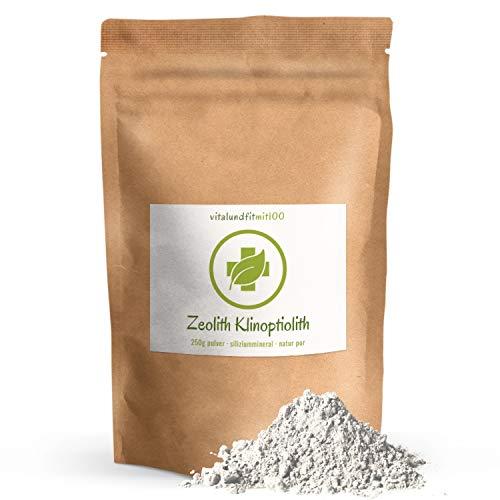 vitalundfitmit100 Zeolith Klinoptilolith Pulver - 250 g - 100% Naturzeolith - in Auslesequalität OHNE Nanopartikel - schadstoffgeprüft - OHNE Hilfs- u. Zusatzstoffe