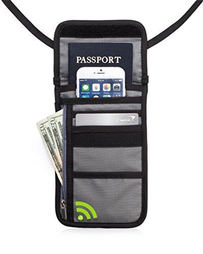 Deluxe RFID Premium nascosto collo Custodia e Portafoglio da viaggio (Grigio)