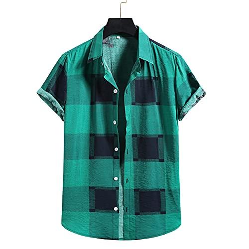 Shirt Hombre Estampada Verano Transpirable Regular Fit Hombre Ocio Shirt Kent Cuello Tapeta con Botones Shirt De Playa Manga Corta Ligera Hawaii Hombre T-Shirt I-009 S