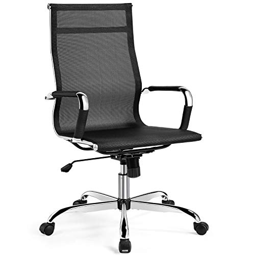 Yaheetech High-Back Office Chair/Mesh Fabric Task Chair Ergonomic Swivel Chair Mid-Century Desk Chair with Armrests and Rocking Breathable Back for Executive Conference Room/Home Office