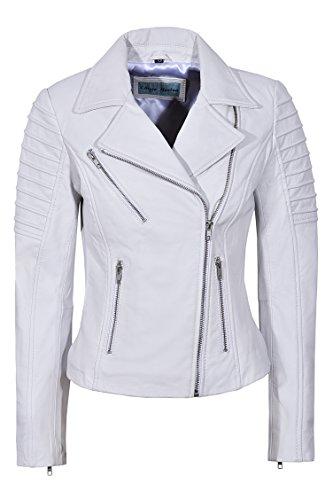 Damenjacke aus echtem Leder, modisch, gewachst, weich, Biker-Stil, 9334 Gr. 46, weiß
