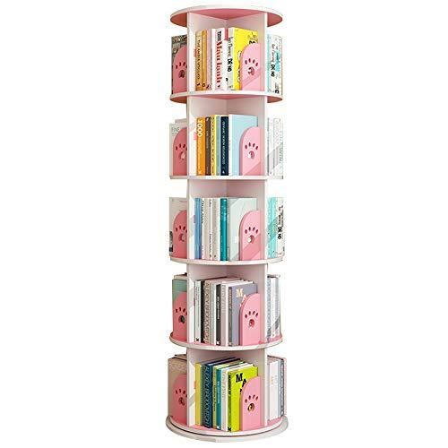 LJFYXZ Estantería Librería Librería giratoria de 360 ° Ahorra Espacio Estantería de Suelo para niños Fácil instalación por Estudio de la Sala de Estar del Dormitorio (Color : Pink, Size : 50x164cm)