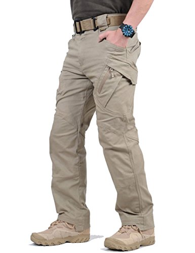 TACVASEN Mens Outdoor Rip-Stop Multi Pockets Relaxed-Fit Tactical Cargo Pants Khaki,32