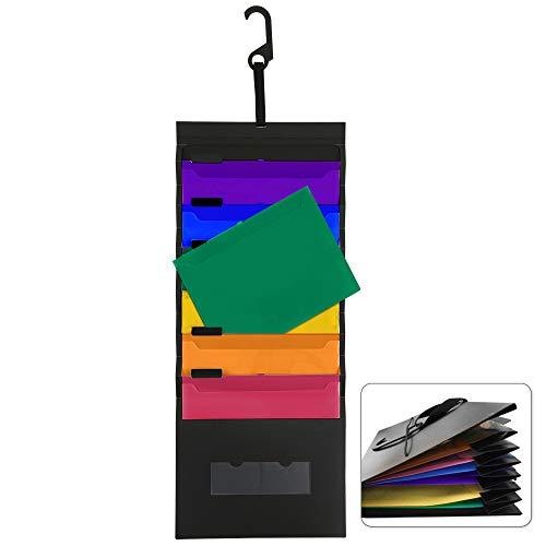 Porta Documenti da Appendere a Parete File Organizer A4 Plastica Impermeabile con 6 Tasche Pieghevole per Ufficio Scuola di Famiglia Nero