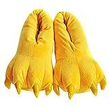 Aivtalk - Zapatillas Franela Suaves Calientes Unisex Zapatos de Garras Animales Para Casa Navidad Halloween Cosplay Primavera Invierno Talla EU 34-38 - Amarillo