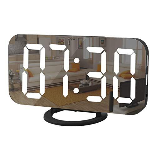 bobotron GrooE - Despertador digital con pantalla LED de espejo, cargador USB, función de repetición de alarma, modo de atenuación y reloj de escritorio para dormitorio, color negro