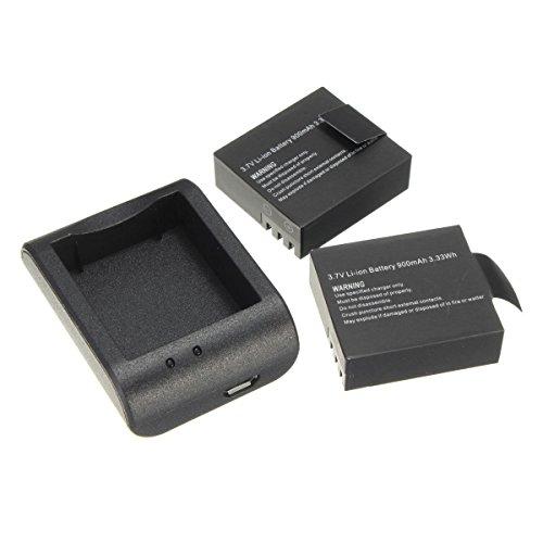 SODIAL(R) 2 x batteries 900mAh Chargeur de batterie USB + pour SJ4000 SJ6000 Camera
