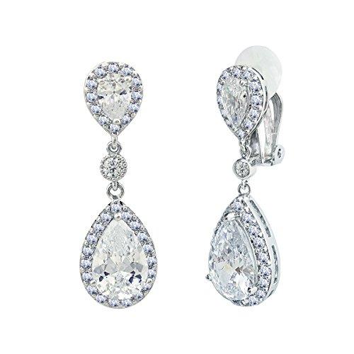 SELOVO Bridal Cubic Zirconia Clip-on Dangle Earrings Clear CZ Crystal Girls Women Jewelry