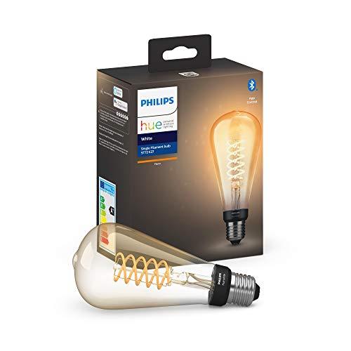 Philips Hue Bombilla Inteligente LED E27, 7W, forma pera, con Bluetooth, Filamento, Luz Blanca Cálida, Compatible con Alexa y Google Home