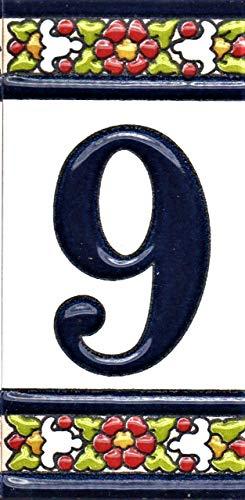 Hausnummern, Hausbuchstaben, handbemalte Keramiknummern und Buchstaben, echtes spanisches Schild (Nummer 9)