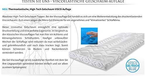 Schlafcomfort Gel-Touch-Blue® GELSCHAUM 7cm Matratzenauflage 7cm H2 60-90kg (90x200)