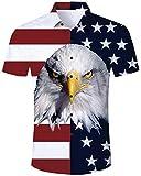 Jubestar Men's Hawaiian Shirt 3D Tropical Summer Aloha Short Sleeve Button Down Shirt, Usa Flag, XX-Large