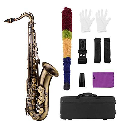Muslady Bb Saxofón Tenor Acabado Antiguo Cuerpo de Latón Llaves de Concha Blanca Instrumento de Viento de Madera con Estuche Portátil Guantes de Limpieza Cepillo de Tela Correas de Cuello de Saxofón
