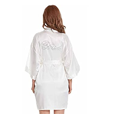IUTOYYE Women's Satin Kimono Short Robe Embellished with Rhinestones for Wedding Party (S, White(Bride))