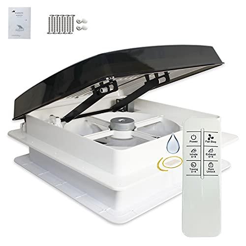 Controllo Vocale Ventola di ventilazione sul tetto del caravan, ventilazione con sensore pioggia, ventola reversibile permanente a livello automatico 12V per camper (14' voice+remote control)